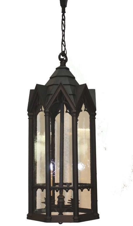 American Neo Gothic Cast Metal Four Light Lantern For Sale