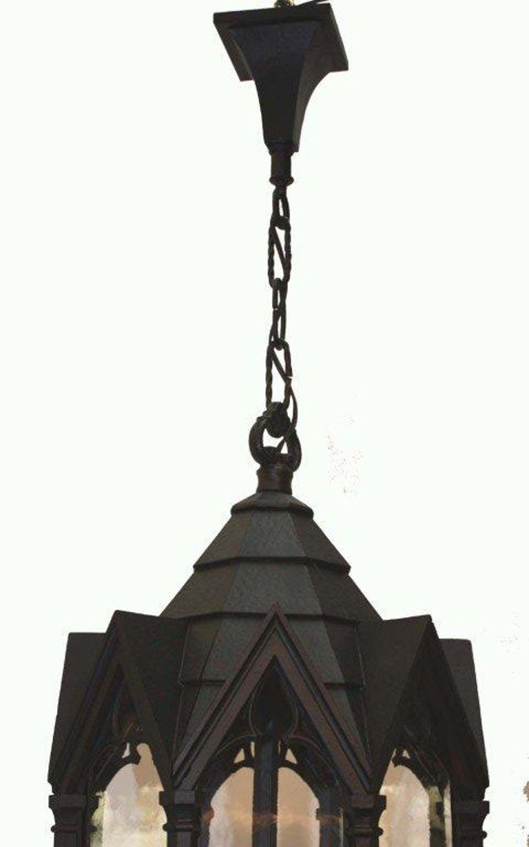 20th Century Neo Gothic Cast Metal Four Light Lantern For Sale