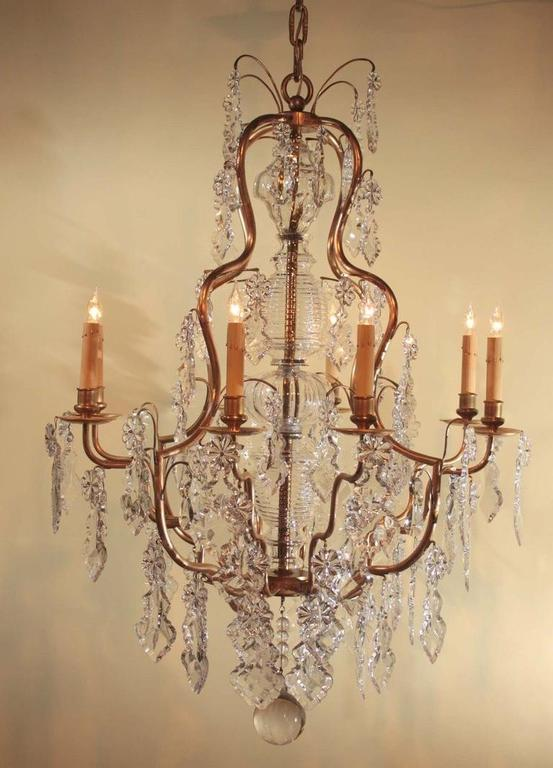 French Louis XV Style Gilt Bronze and Crystal Chandelier For Sale