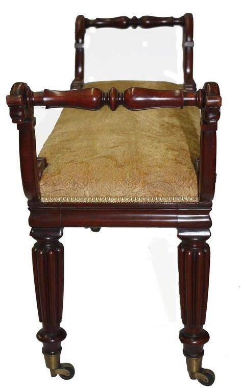 English William IV Mahogany Upholstered Bench For Sale