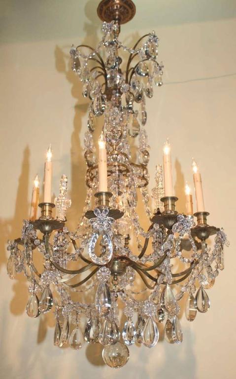 French Baguès Louis XVI Style Twelve Light Crystal Chandelier For Sale