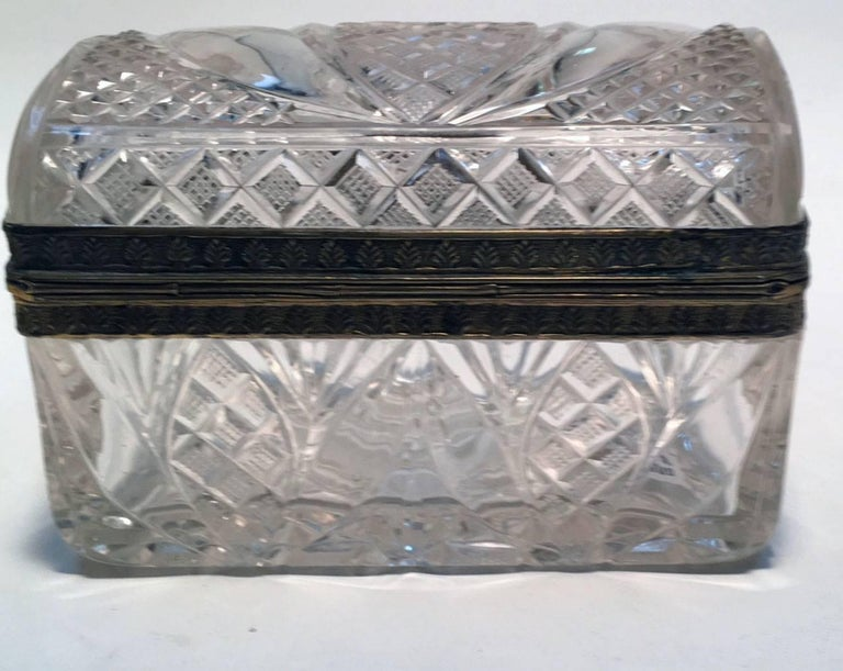 French Cut Crystal and Gilt Bronze Dresser Box For Sale