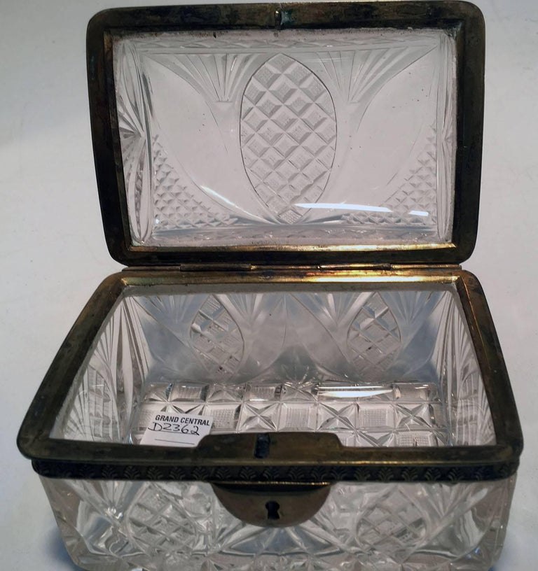19th Century Cut Crystal and Gilt Bronze Dresser Box For Sale