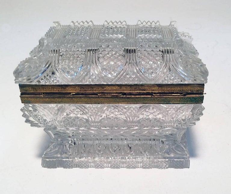 19th Century French Cut Lead Crystal Dresser Casket For Sale