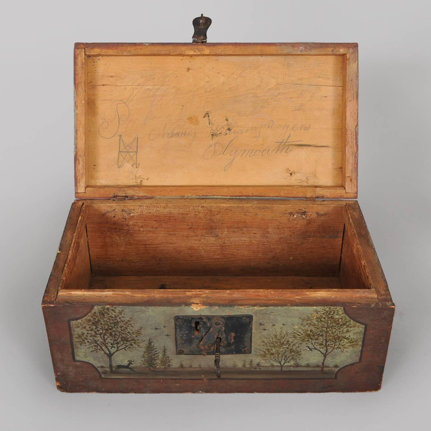 small paint decorated wood box with key for sale at 1stdibs. Black Bedroom Furniture Sets. Home Design Ideas