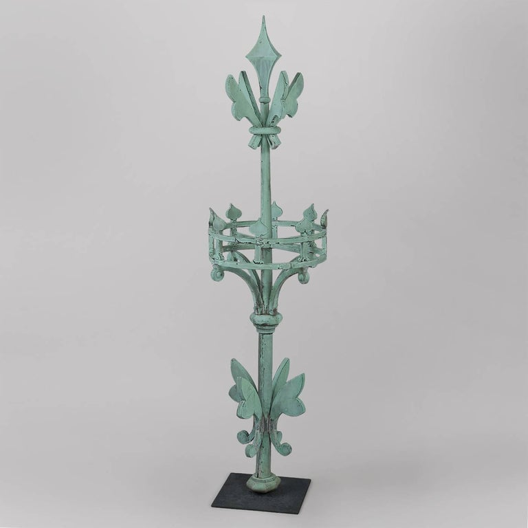 American, probably New England or New York. circa 1875-1890. Copper, copper tubing. Condition: Excellent condition, original verdigris surface, minor re-soldering at seams. This exceptional architectural element probably adorned the roof or