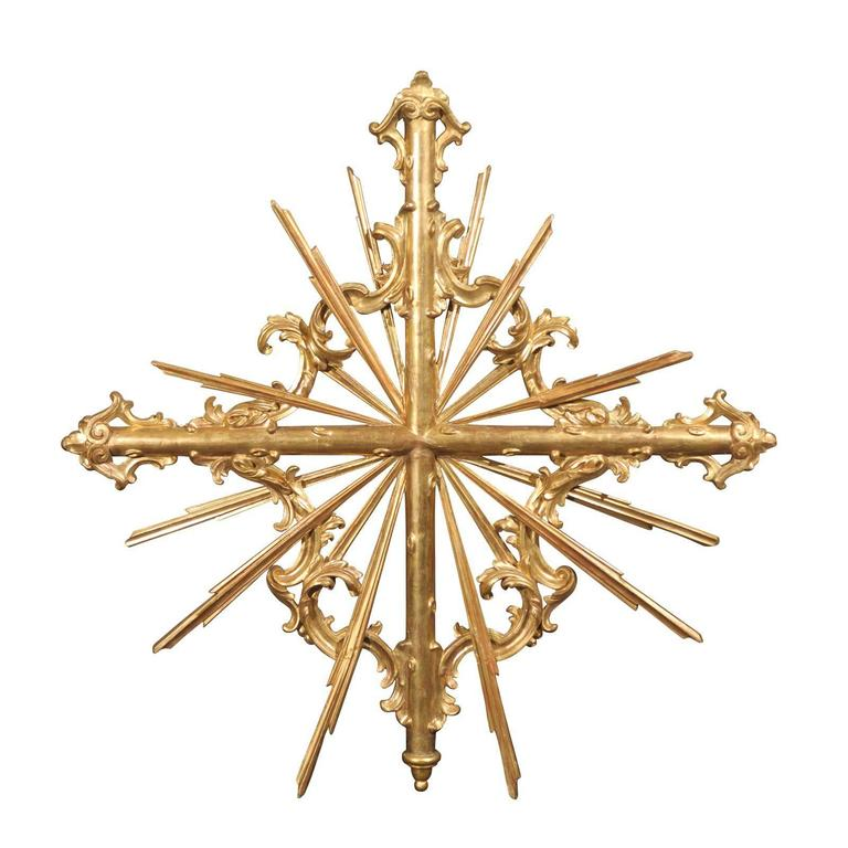Italian 19th Century Large Suze Sunburst Wall Decoration