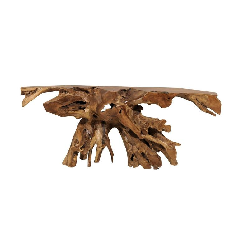 a teak root wooden console table 1