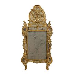 French Rococo Style Giltwood Mirror from the Early 19th Century