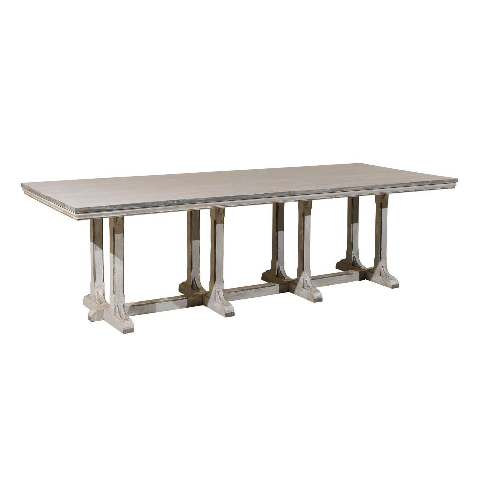 Large European Grey Painted Wood Rectangular Dining Table