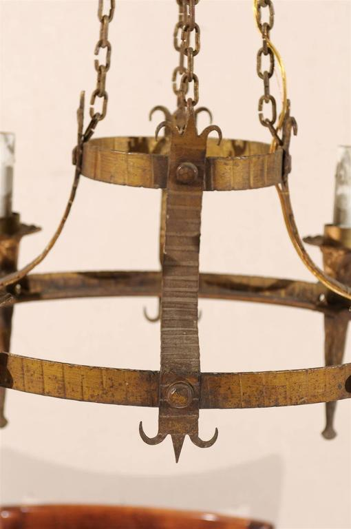 20th Century Pair of French Gilt-Metal Ring Chandeliers w/Torch Lights & Fleur-de-Lys Accents For Sale