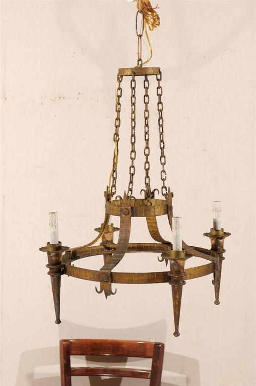 Pair of French Gilt-Metal Ring Chandeliers w/Torch Lights & Fleur-de-Lys Accents For Sale 2