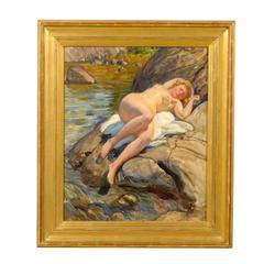 Swedish Nude Painting by Ivar Kamke, circa 1920