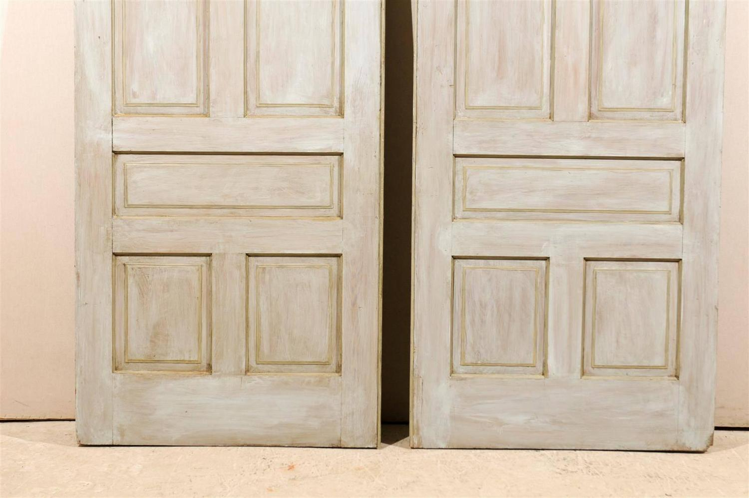 Pair Of Early 20th Century Painted Wood Pocket Doors For