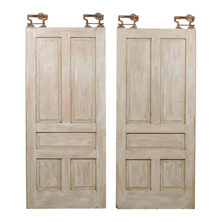 Pair of Early 20th Century Painted Wood Pocket Doors