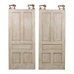 Pair of Early 20th Century Painted Wood Pocket Doors