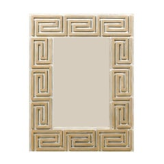 A Large Greek Key Painted Wood Mirror in Neutral Tan, Beige and Cream Color