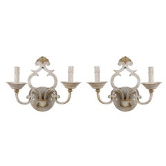 Pair of Two-Light Painted Metal Sconces