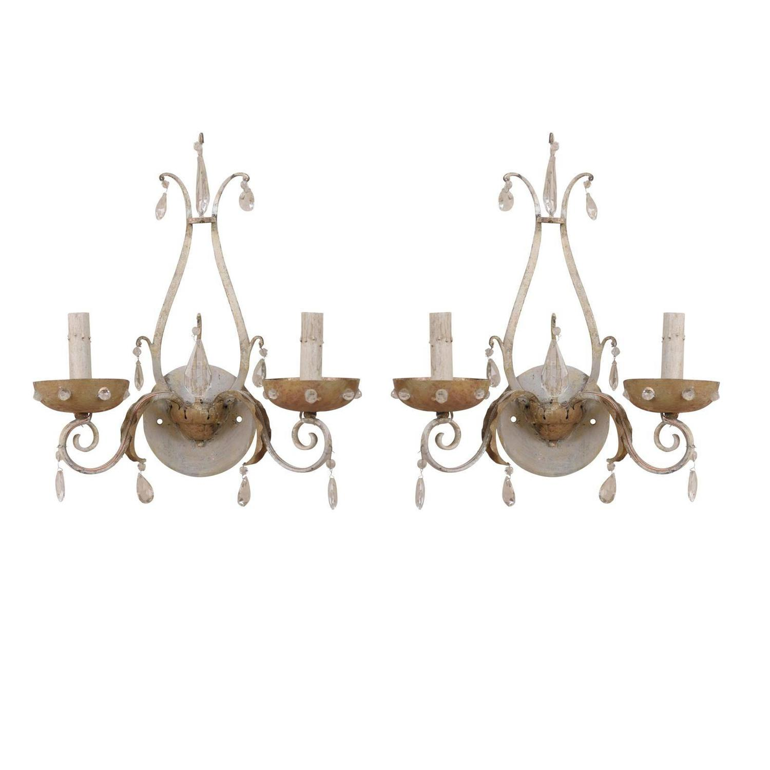 Wall Sconces With Crystal Accents : Pair of Painted Metal Two-Light Sconces with Crystal Accents For Sale at 1stdibs
