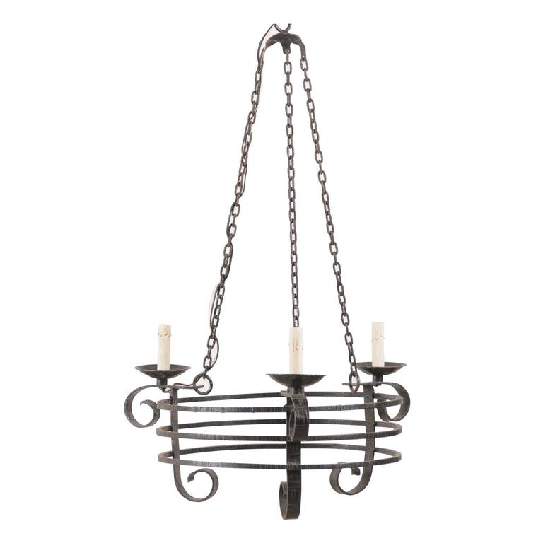 French Vintage Forged Iron Three-Light Chandelier