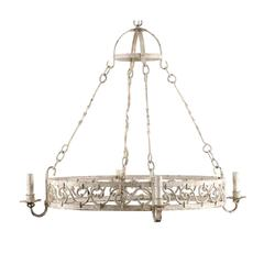 French Vintage Oval Shaped 4-Light Painted Iron Chandelier in Light Cream Color