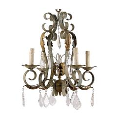 French Vintage Crystal and Iron Four-Light Chandelier