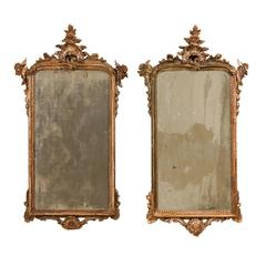 Pair of 18th Century Italian Mirrors in Rococo Style with Nicely Aged Gold Color