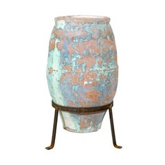 Aged Spanish Terracotta Olive Jar from the Mid-19th C. with Traces of Blue Paint