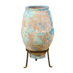 Spanish, Mid-19th C. Terracotta Olive Jar with Remains of Blue / Turquoise Paint