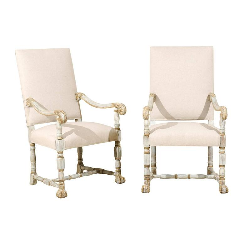 A Pair of French Louis XIV Style Armchairs / Fauteuils, Light Grey Painted Wood For Sale