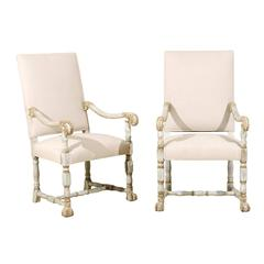 A Pair of French Louis XIV Style Armchairs / Fauteuils, Light Grey Painted Wood