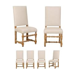 Set of Six Italian Baroque Style Chairs from the Late 19th Century