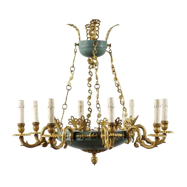 Swedish Empire Style Eight-Light Chandelier of Brass and Iron with Teal Accents