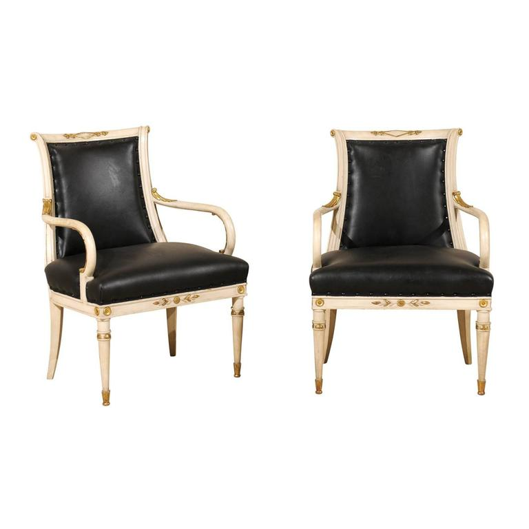 pair of directoire style fauteuils armchairs with diamond motif and gilding for sale at 1stdibs