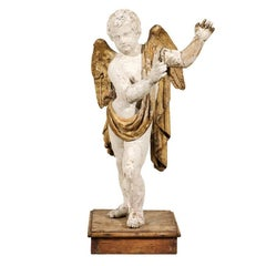 Italian 18th Century Carved Angel with Gilded Wings and Sash Raised on Wood Base