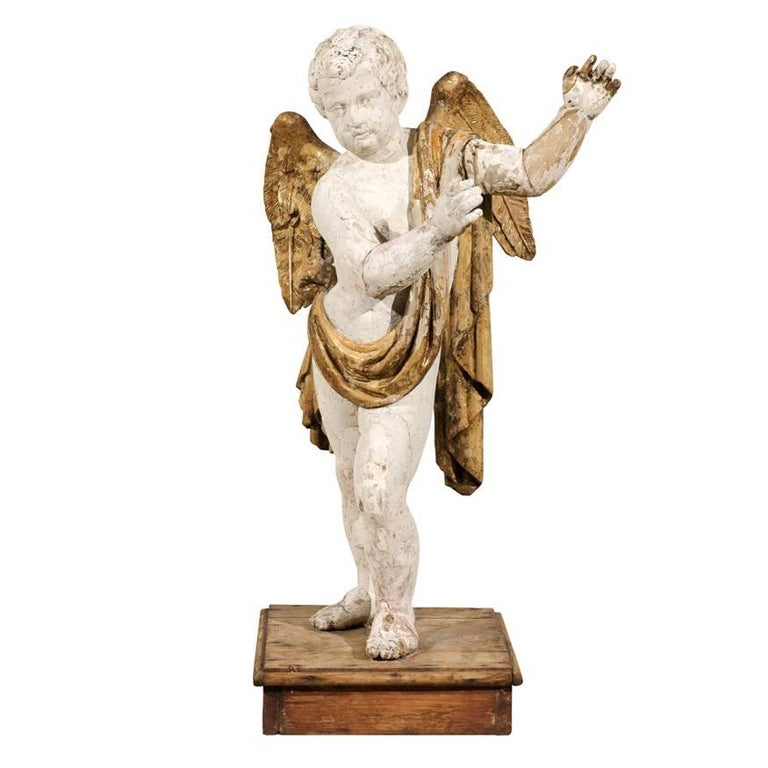 Italian 18th Century Carved Angel with Gilded Wings and Sash Raised on Wood Base For Sale