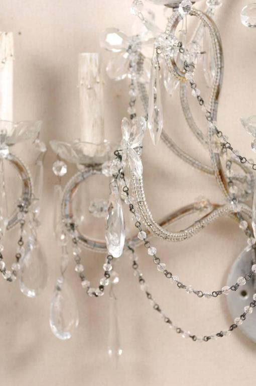 Pair of Crystal Five-Light Sconces from the Mid-20th Century with Flower Motifs For Sale 2