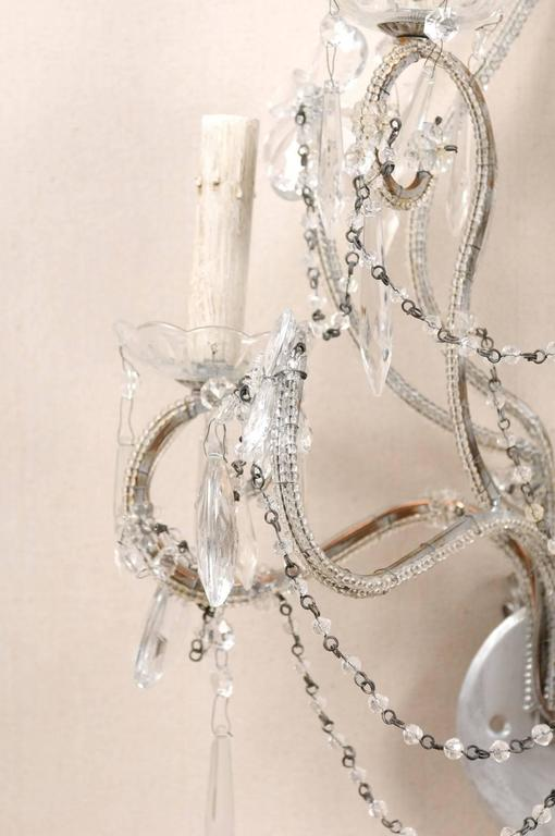 Pair of Crystal Five-Light Sconces from the Mid-20th Century with Flower Motifs For Sale 1