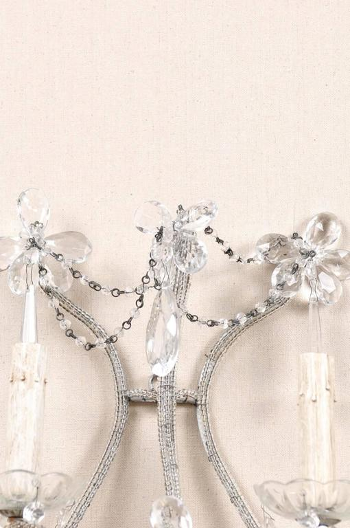 Pair of Crystal Five-Light Sconces from the Mid-20th Century with Flower Motifs For Sale 3