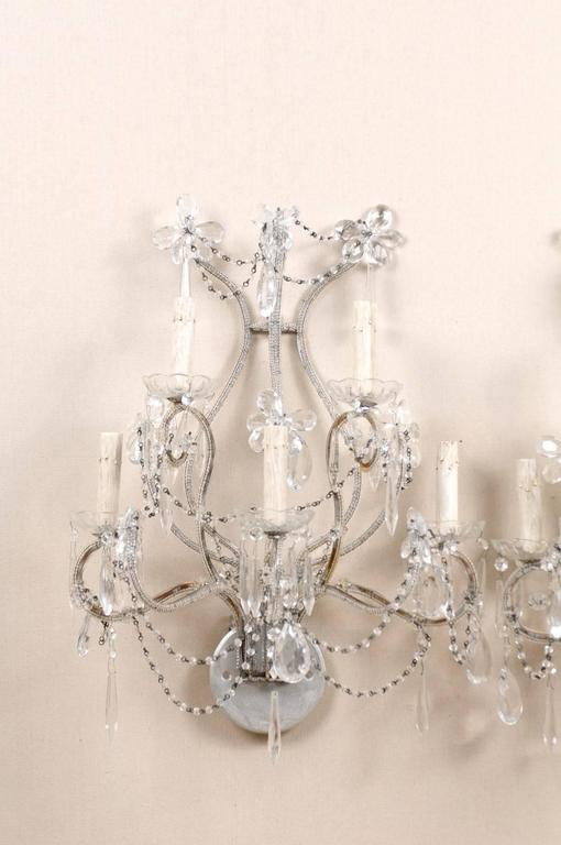 Italian Pair of Crystal Five-Light Sconces from the Mid-20th Century with Flower Motifs For Sale