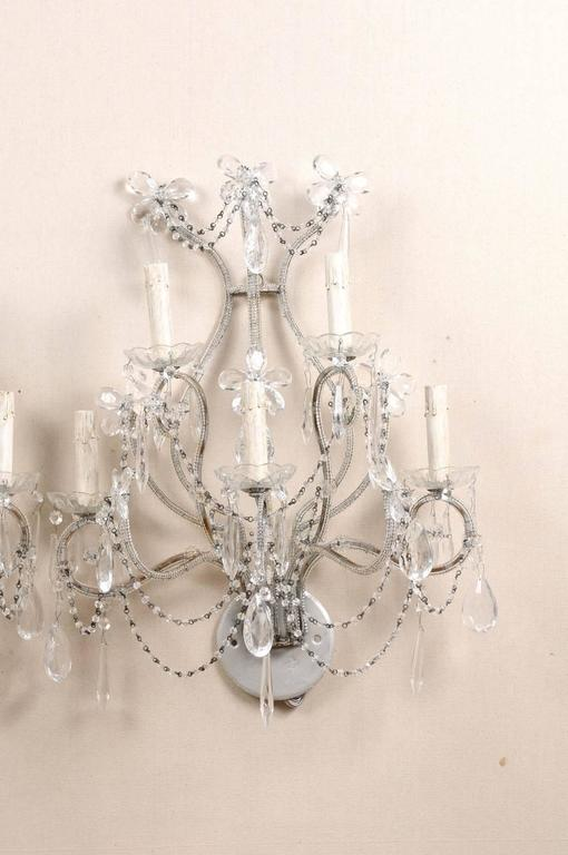 Painted Pair of Crystal Five-Light Sconces from the Mid-20th Century with Flower Motifs For Sale