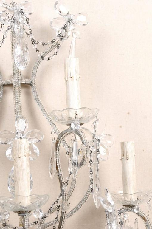 Pair of Crystal Five-Light Sconces from the Mid-20th Century with Flower Motifs For Sale 5