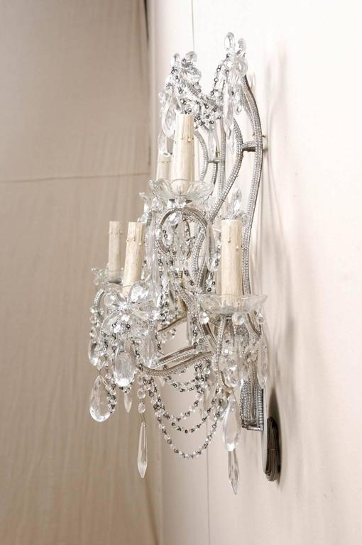 Pair of Crystal Five-Light Sconces from the Mid-20th Century with Flower Motifs 5