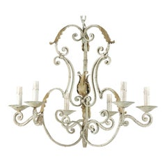 French Vintage S-Scroll Iron Six-Light Chandelier with Acanthus Leaf Motifs