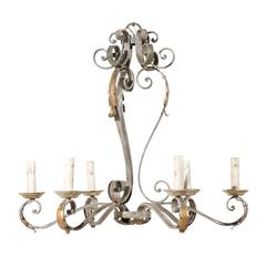 French Painted Iron Six-Light Chandelier with Gilded Acanthus Leaves