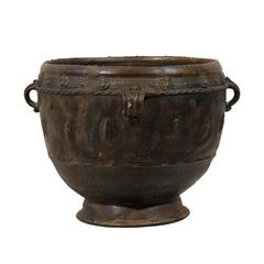 Brown-Black Colored Clay Jar with Four Handles and Decorative Motifs