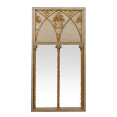 English Regency Period Trumeau Mirror with Giltwood Motifs
