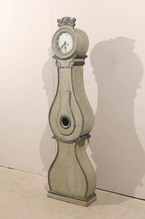 Fryksdahl Swedish Clock from Värmland, 19th Century with Grey Color In Good Condition For Sale In Atlanta, GA