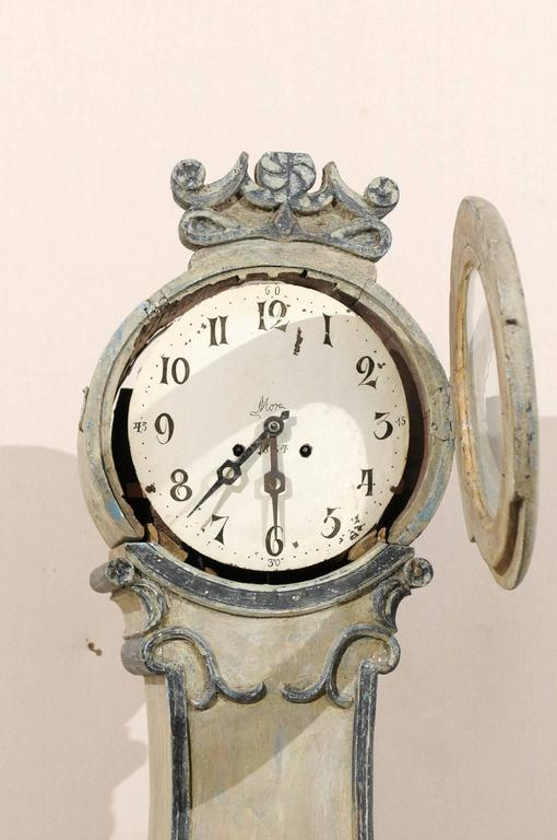Fryksdahl Swedish Clock from Värmland, 19th Century with Grey Color For Sale 1