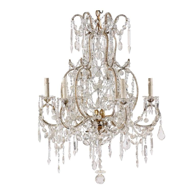 Ornate Iron Ring Chandelier: French Crystal And Gilded Iron Chandelier With Scroll Arms